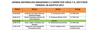 Jadwal Matrikulasi 2017 MPBSI