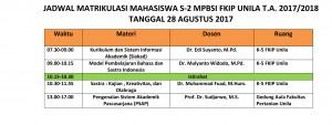 Jadwal Matrikulasi 2017 MPBSI