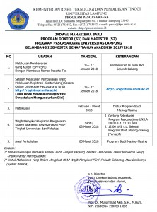 Jadwal Mahasiswa Baru Genap 2017 2018